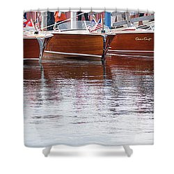 Antique Classic Wooden Boats In A Row Panorama 81112p Shower Curtain