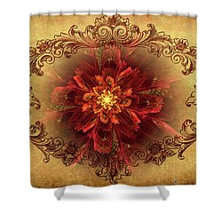 Antique Foral Filigree In Crimson And Gold Shower Curtain
