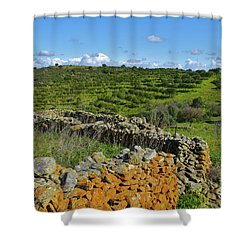 Antique Stone Wall Of An Old Farm Shower Curtain
