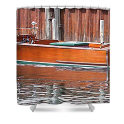 Antique Wooden Boat By Dock 1302 Shower Curtain