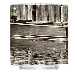 Antique Wooden Boat By Dock Sepia Tone 1302tn Shower Curtain