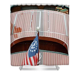 Antique Wooden Boat With Flag 1303 Shower Curtain