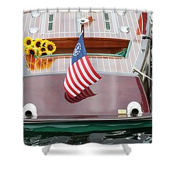 Antique Wooden Boat With Flag And Flowers 1304 Shower Curtain