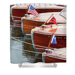 Antique Wooden Boats In A Row Portrait 1301 Shower Curtain