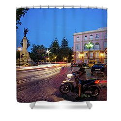 Shower Curtain featuring the photograph Apodaca Boardwalk Traffic Lights Cadiz Spain by Pablo Avanzini