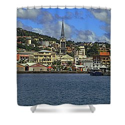 Shower Curtain featuring the photograph Approaching Fort De France by Tony Murtagh
