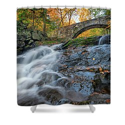 Shower Curtain featuring the photograph Arch Bridge At Vaughan Woods by Rick Berk