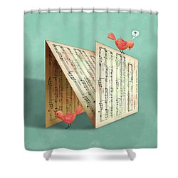 N Is For Notes Shower Curtain