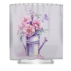 Shower Curtain featuring the painting Pink Peonies Blooming Watercolour by Georgeta Blanaru