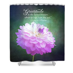Pink Dahlia Gratitude Artwork Shower Curtain