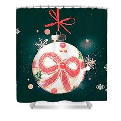 Shower Curtain featuring the photograph Merry Christmas Ribbon Ornament by Rachel Hannah