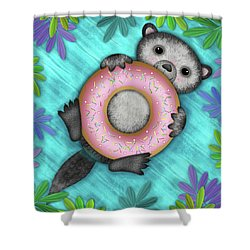 O Is For Otter With An O So Delicious Doughnut Shower Curtain