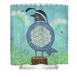Q Is For Quail And Queen Anne's Lace Shower Curtain