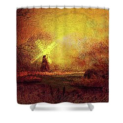 Shower Curtain featuring the painting Ye Olde Mill by Valerie Anne Kelly