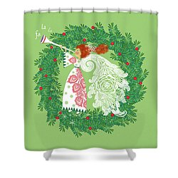 Angel With Christmas Wreath Shower Curtain