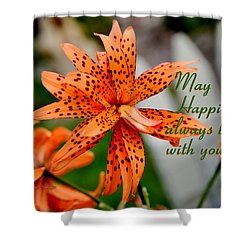 Asian Tiger Lily With Cheery Thought Shower Curtain