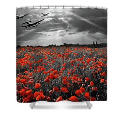 Shower Curtain featuring the photograph At The Going Down Of The Sun Selective Red Version by Gary Eason