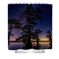 Shower Curtain featuring the photograph Atchafalaya Basin Under The Miky Way by Andy Crawford