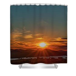 Attean Pond Sunset Shower Curtain