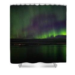 Aurora Borealis Reflecting At The Sea Surface Shower Curtain