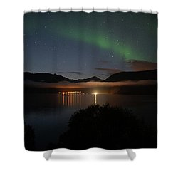 Aurora Northern Polar Light In Night Sky Over Northern Norway Shower Curtain