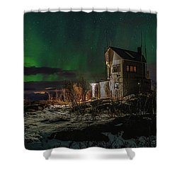 Aurora Over The Radio Station Shower Curtain