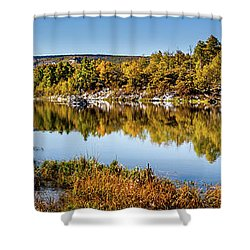 Shower Curtain featuring the photograph Autumn At Ivie Pond Panoramic by TL Mair