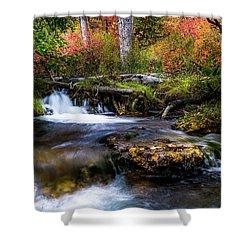 Shower Curtain featuring the photograph Autumn Cascades by TL Mair