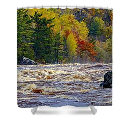 Autumn Colors And Rushing Rapids   Shower Curtain