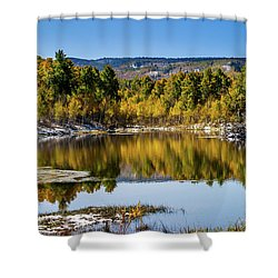 Shower Curtain featuring the photograph Autumn Cove At Ivie Pond by TL Mair