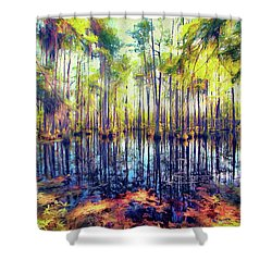 Autumn Fall Colors In The Cypress Swamp Ap Shower Curtain