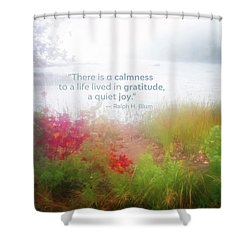 Autumn Fog On Eagle Lake Gratitude Art Shower Curtain