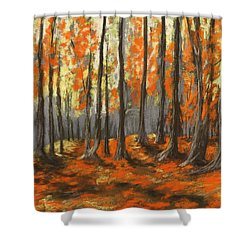 Shower Curtain featuring the painting Autumn Forest by Anastasiya Malakhova