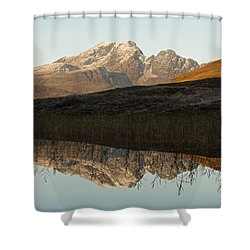 Shower Curtain featuring the photograph Autumn Meets Winter At Blaven by Stephen Taylor