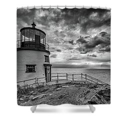 Shower Curtain featuring the photograph Autumn Morning At Owls Head Black And White by Rick Berk