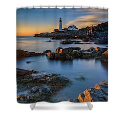 Shower Curtain featuring the photograph Autumn Morning At Portland Head Lighthouse  by Rick Berk