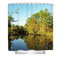 Shower Curtain featuring the photograph Autumn On The Bayou by Kay Brewer