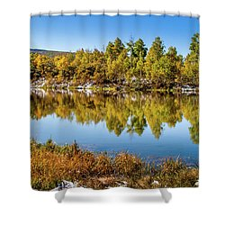 Shower Curtain featuring the photograph Autumn Reflections At Ivie Pond by TL Mair