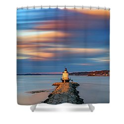 Shower Curtain featuring the photograph Autumn Skies At Spring Point Ledge Lighthouse by Rick Berk