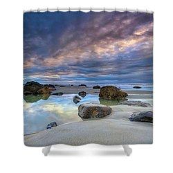 Shower Curtain featuring the photograph Autumn Sky At Wells Beach by Rick Berk