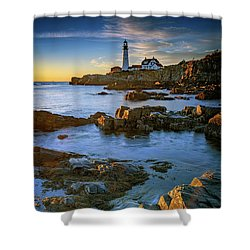Shower Curtain featuring the photograph Autumn Tranquility At Portland Head by Rick Berk