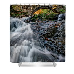 Shower Curtain featuring the photograph Autumn Waterfall In Hallowell by Rick Berk