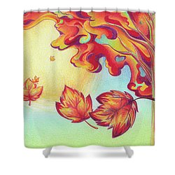 Autumn Wind And Leaves Shower Curtain