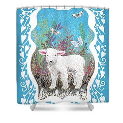 Baby Lamb With White Butterflies Shower Curtain