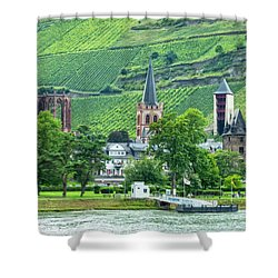 Shower Curtain featuring the photograph Bacharach, Germany, On The Rhine by Kay Brewer