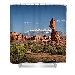 Shower Curtain featuring the photograph Balanced Rock And The La Sal Mountain Range by David Morefield