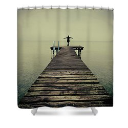 Ballerina Pose At Idyllic Lake At Winter Shower Curtain