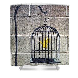 Banksy Bird Cage Detroit Shower Curtain