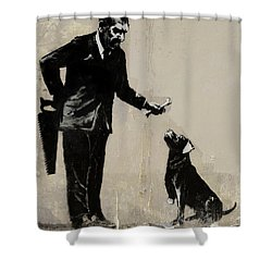 Banksy Paris Man With Bone And Dog Shower Curtain