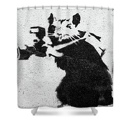 Banksy Rat With Camera Shower Curtain